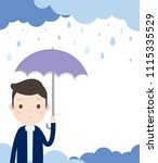 man is holding an umbrella and...   Shutterstock .eps vector #1115335529