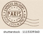 round brown postmark paris ... | Shutterstock . vector #1115339360