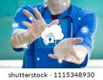 doctor pushing button cloud... | Shutterstock . vector #1115348930