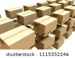 cardboard package and label 3d... | Shutterstock . vector #1115352146