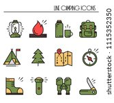 hiking and camping line icons... | Shutterstock .eps vector #1115352350