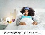sick african american girl with ... | Shutterstock . vector #1115357936
