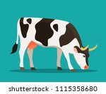 spotted cow eats grass isolated....   Shutterstock .eps vector #1115358680