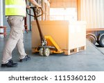worker man dragging manual... | Shutterstock . vector #1115360120