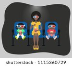 family watching a movie in the... | Shutterstock .eps vector #1115360729