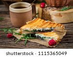 panini sandwich with cheese and ... | Shutterstock . vector #1115365049