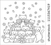 hand drawn cute cats in basket  ... | Shutterstock .eps vector #1115367419