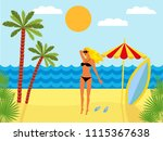 tropical landscape with beach   ... | Shutterstock . vector #1115367638
