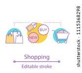 shopping concept icon. doing... | Shutterstock .eps vector #1115368298