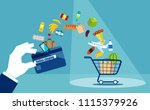 flat style of shopping cart... | Shutterstock .eps vector #1115379926