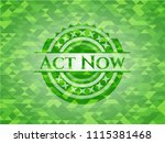 act now green emblem with... | Shutterstock .eps vector #1115381468