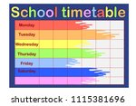 school timetable  a weekly... | Shutterstock .eps vector #1115381696