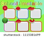 school timetable  a weekly... | Shutterstock .eps vector #1115381699