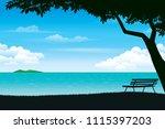 scenery of seaside and summer...   Shutterstock .eps vector #1115397203