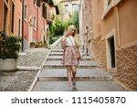 beautiful and cute blonde model ... | Shutterstock . vector #1115405870