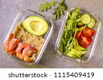 healthy meal prep containers... | Shutterstock . vector #1115409419