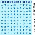 vector food icon set of 100... | Shutterstock .eps vector #1115425784