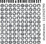 vector food icon set of 100... | Shutterstock .eps vector #1115425790