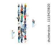 crowded isometric people vector ... | Shutterstock .eps vector #1115425820