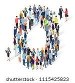 crowded isometric people vector ... | Shutterstock .eps vector #1115425823