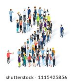crowded isometric people vector ... | Shutterstock .eps vector #1115425856