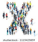crowded isometric people vector ... | Shutterstock .eps vector #1115425859