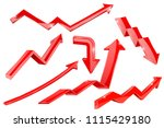 red arrows. 3d shiny set of... | Shutterstock .eps vector #1115429180
