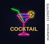 night cocktail is a neon sign.... | Shutterstock .eps vector #1115437970