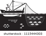 fishing ship in the sea vector... | Shutterstock .eps vector #1115444303