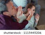 family abuse. short haired... | Shutterstock . vector #1115445206