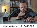 man in despair. grey haired... | Shutterstock . vector #1115445383