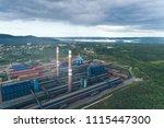 aluminum metallurgical plant... | Shutterstock . vector #1115447300