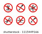 set of do not open with a knife ... | Shutterstock .eps vector #1115449166