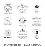 writers labels set. world... | Shutterstock .eps vector #1115450900