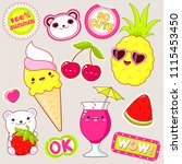 set of cute icons in kawaii... | Shutterstock .eps vector #1115453450