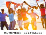 group of happy young people... | Shutterstock . vector #1115466383
