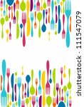 multicolored cutlery icons...   Shutterstock . vector #111547079