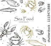 vector illustration. sea food   ... | Shutterstock .eps vector #1115471888