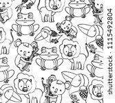 grunge cute exotic wild animal... | Shutterstock .eps vector #1115492804
