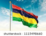 mauritius flag on the blue sky... | Shutterstock . vector #1115498660