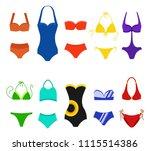 set of women swimsuit isolated... | Shutterstock .eps vector #1115514386