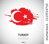 flag of turkey with brush... | Shutterstock .eps vector #1115514710