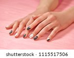 young woman hands with matte... | Shutterstock . vector #1115517506