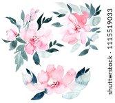flowers watercolor illustration ...   Shutterstock . vector #1115519033