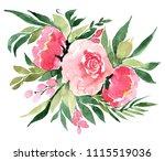 flowers watercolor illustration ...   Shutterstock . vector #1115519036