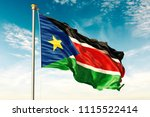 south sudan flag on the blue... | Shutterstock . vector #1115522414