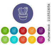 needle heart cactus icons color ...   Shutterstock .eps vector #1115523056