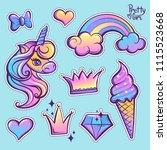 girlish patch badges unicorn...   Shutterstock .eps vector #1115523668