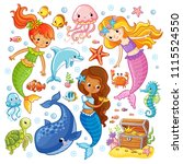 vector set with animals and... | Shutterstock .eps vector #1115524550