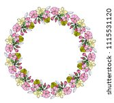 floral wreath  round frame with ... | Shutterstock .eps vector #1115531120